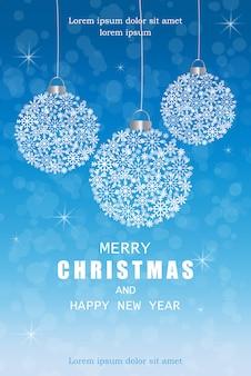 Cartão de decorações de flocos de neve feliz natal