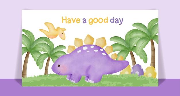 Cartão de desenho animado de dinossauro bonito em aquarela.
