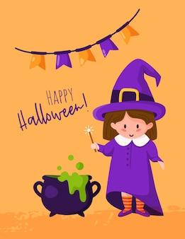 Cartão de desenho animado de halloween com a menina em trajes de bruxa, caldeirão com poção de halloween