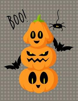 Cartão de desenho animado de halloween com lanterna de abóbora entalhada e morcegos pretos