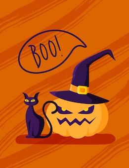Cartão de desenho animado de halloween ou pôster do berçário - lanterna de abóbora com chapéu de bruxa, gato preto em fundo laranja, cópia modelo de espaço