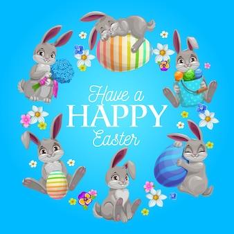 Cartão de desenho animado, moldura redonda de coelhos