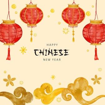 Cartão de desenho de mão do ano novo chinês