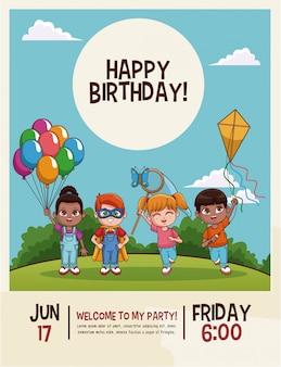 Cartão de desenhos animados de crianças fofinho feliz aniversário