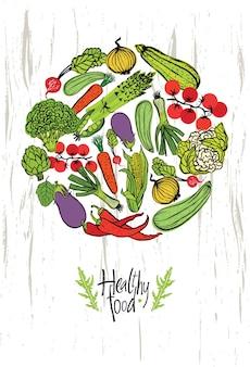 Cartão de design de alimentos saudáveis