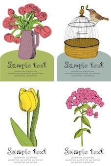 Cartão de design de flores e pássaros