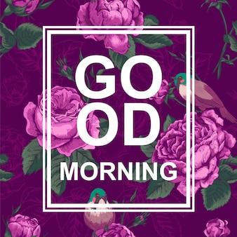 Cartão de design de moda floral com slogan