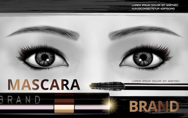 Cartão de design de rímel com olhos e cílios brilhantes