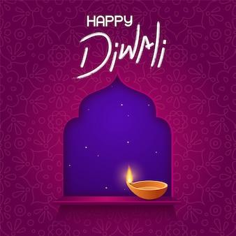 Cartão de design para o festival de férias indiano diwali. lâmpada de óleo diya na janela e texto feliz de diwali