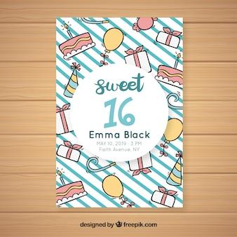Cartão de dezesseis aniversários doodles