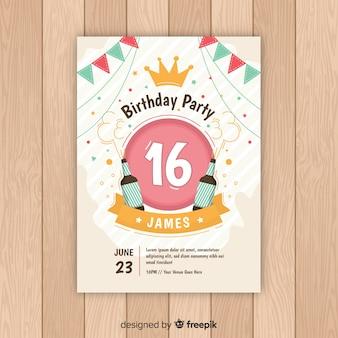 Cartão de dezesseis cervejas do aniversário