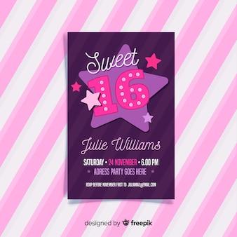 Cartão de dezesseis estrelas de aniversário
