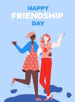 Cartão de dia da amizade com as melhores amigas de amigos íntimos