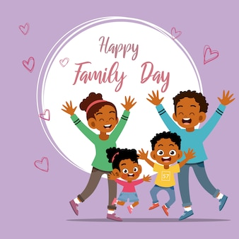 Cartão de dia da família feliz saudação ilustração vetorial