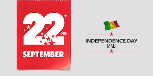 Cartão de dia da independência de mali, banner, ilustração vetorial. fundo do dia 22 de setembro nacional com elementos da bandeira em um design horizontal criativo