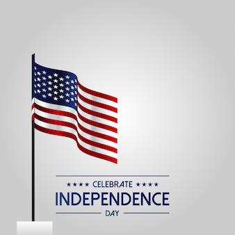 Cartão de dia da independência dos eua com a bandeira de ondulação dos eua