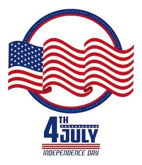 Cartão de dia da independência dos eua