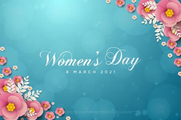 Cartão de dia da mulher 8 de março com flores cor de rosa e folhas brancas no canto superior direito e inferior esquerdo do cartão.