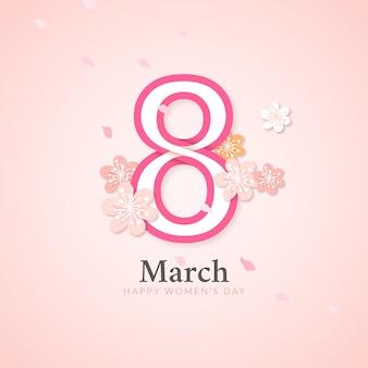 Cartão de dia da mulher elegante com flores e oito de março