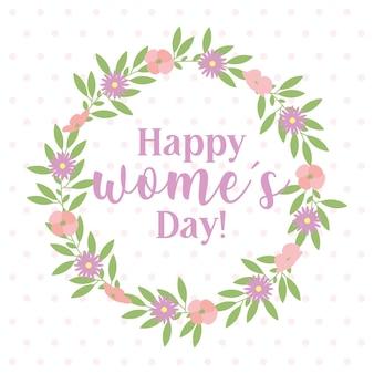 Cartão de dia da mulher feliz com flores da coroa. ilustração