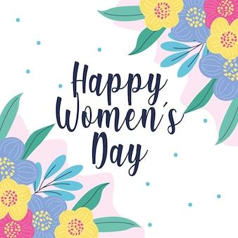 Cartão de dia da mulher feliz com flores. ilustração