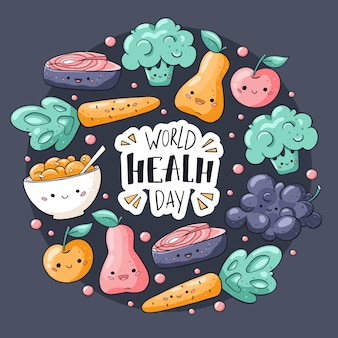 Cartão de dia da saúde do mundo. cartão saudável comida no estilo kawaii