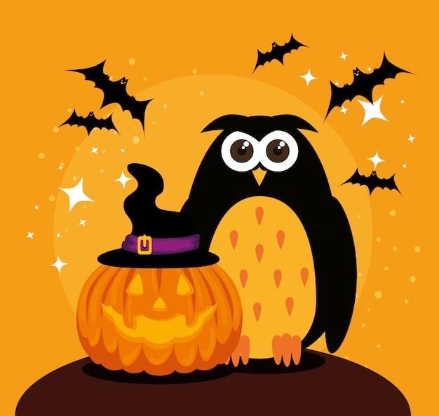 Cartão de dia das bruxas com abóbora e coruja