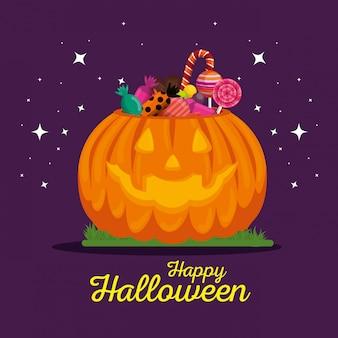 Cartão de dia das bruxas com abóbora e doces