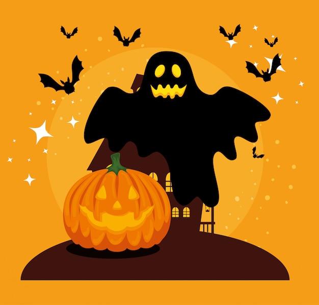 Cartão de dia das bruxas com abóbora e fantasma
