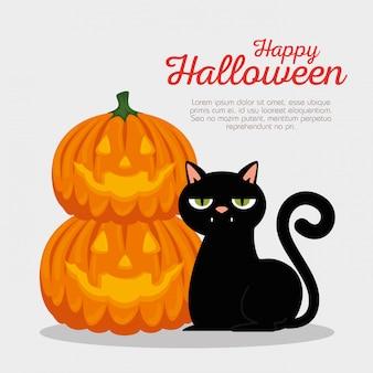 Cartão de dia das bruxas com abóbora e gato