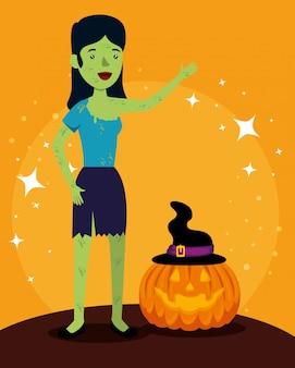 Cartão de dia das bruxas com abóbora e mulher frankenstein