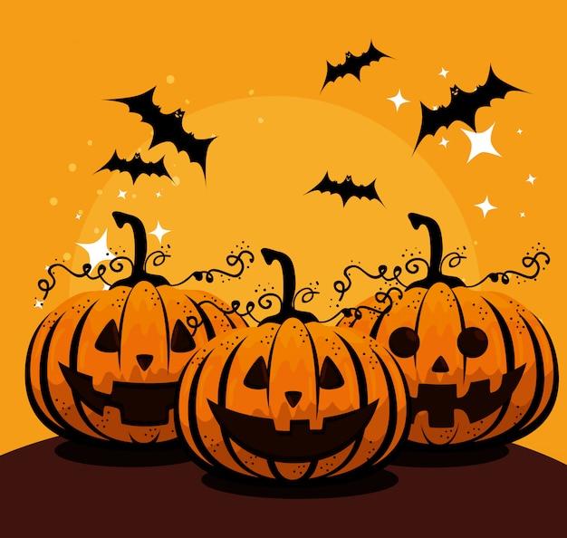 Cartão de dia das bruxas com abóboras e morcegos voando