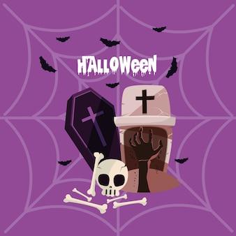Cartão de dia das bruxas com caixão da morte
