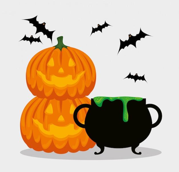 Cartão de dia das bruxas com caldeirão e abóboras