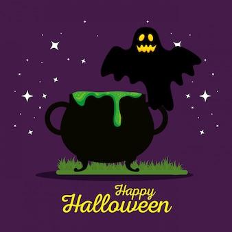 Cartão de dia das bruxas com caldeirão e fantasma