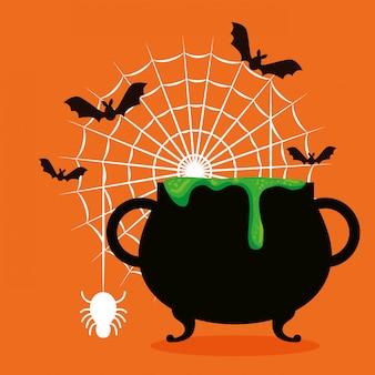 Cartão de dia das bruxas com caldeirão e morcegos voando