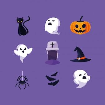 Cartão de dia das bruxas com caracteres definidos