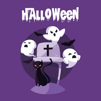Cartão de dia das bruxas com caracteres fantasma