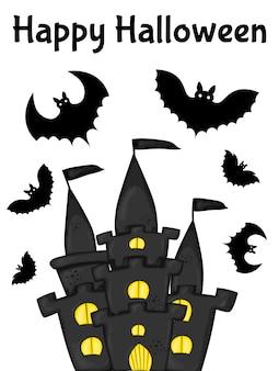 Cartão de dia das bruxas com castelo. estilo de desenho animado.