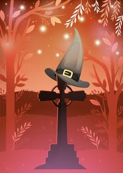 Cartão de dia das bruxas com cena de chapéu de cemitério e bruxa