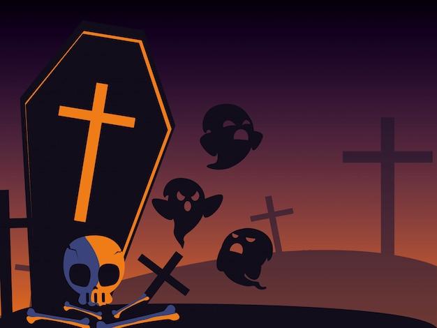 Cartão de dia das bruxas com cena do cemitério à noite