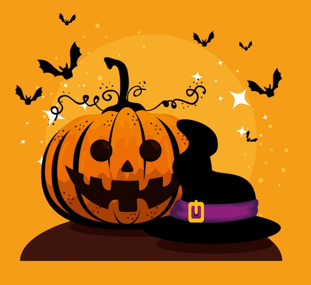 Cartão de dia das bruxas com chapéu de abóbora e bruxa