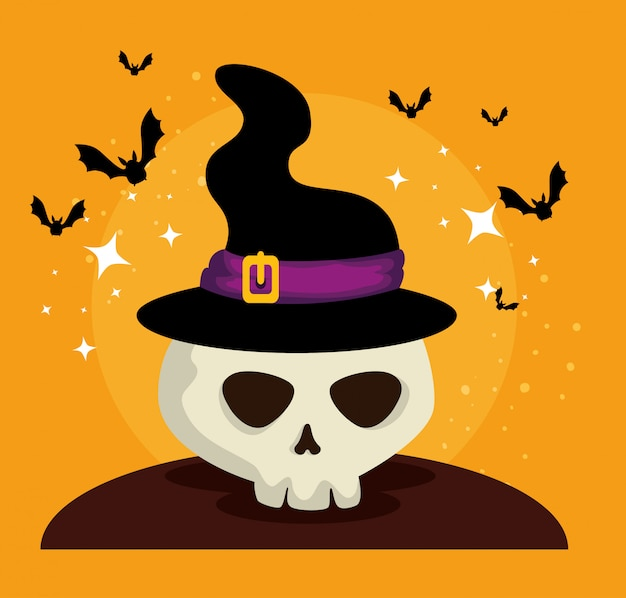 Cartão de dia das bruxas com chapéu de bruxa e caveira