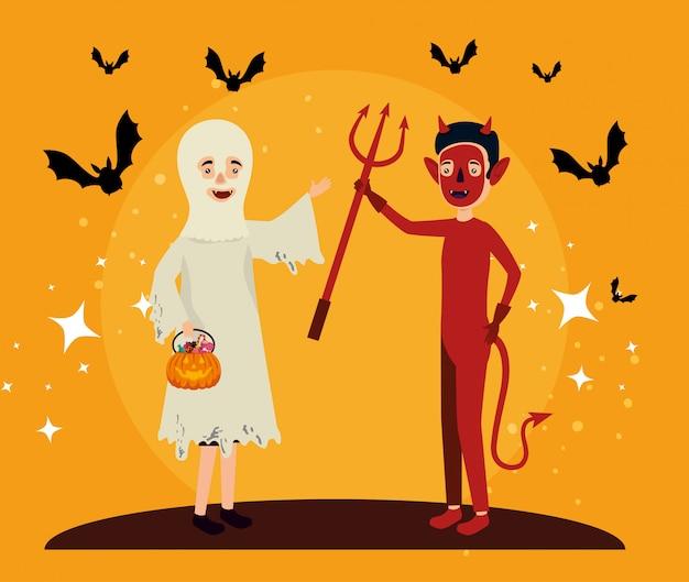 Cartão de dia das bruxas com disfarce de fantasma e diabo