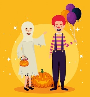 Cartão de dia das bruxas com disfarce de fantasma e palhaço