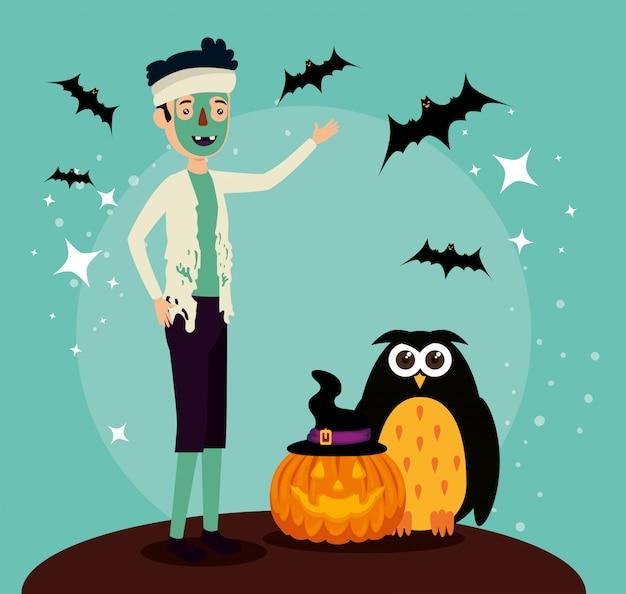 Cartão de dia das bruxas com disfarce de zumbi e coruja