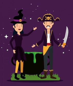 Cartão de dia das bruxas com disfarces de pirata e bruxa