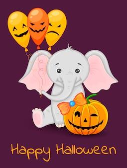Cartão de dia das bruxas com elefante fofo. estilo dos desenhos animados. ilustração vetorial