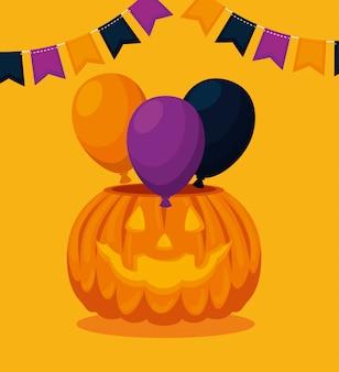 Cartão de dia das bruxas com festa de abóbora e balões