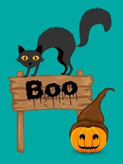 Cartão de dia das bruxas com gato bonito. estilo de desenho animado. ilustração vetorial.